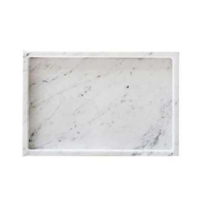 MEDA BLOOMS White Rectangular Marble Tabletop Tray