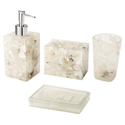 AIMONE Bathroom Accessory Set, Natural White Marble Inside Bath Gift Set