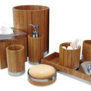 nu steel Ageless Bamboo/Metal Bath Accessory Set for Vanity countertop