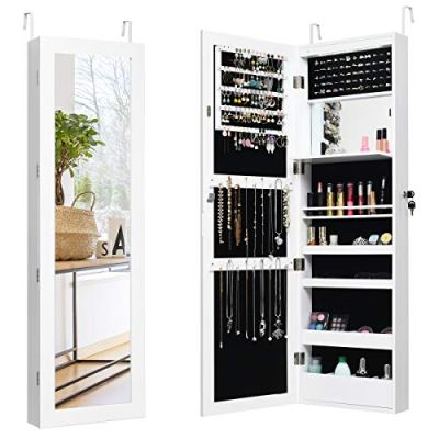 Giantex 12 LEDs Jewelry Cabinet Wall Mounted, Lockable Jewelry Armoire
