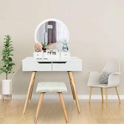 Bonnlo Vanity Table Set with Round Mirror for Girls White Bedroom Dressing Table