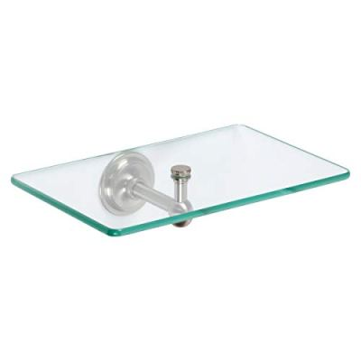 "Ginger 9-In Wall Tray, Satin Nickel, 9"" Glass Bathroom Shelf"