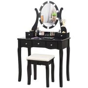 CHARMAID Vanity Table Set with Lighted Mirror, Makeup Dressing Table
