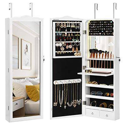 SONGMICS 95 LED Bulbs Jewelry Cabinet, Mirrored Jewelry Armoire
