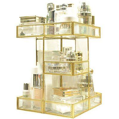 360 Degree Rotation Makeup Organizer Antique Countertop Cosmetic Storage Box