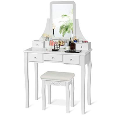 CHARMAID Vanity Set with 5 Drawers, 2 Dividers, Removable Storage Box