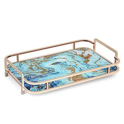 HANGOOD Decorative Tray Metal Tray with Handles Rectangular Vanity