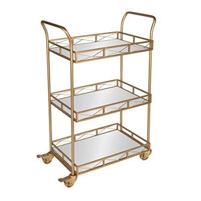 Kate and Laurel Ketia Metal 3 Tiered Mirror Tray Bar Cart