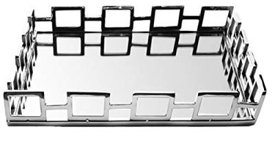 Le'raze Elegant Mirrored Vanity Tray, Decorative Tray with Square Loop Bars