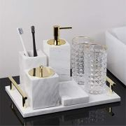 Marble Bathroom Accessory Set of 7 Piece | Soap Dispenser,Toothbrush Holder