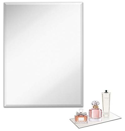 Light In The Dark Large Frameless Wall Mirror with Beveled Edge