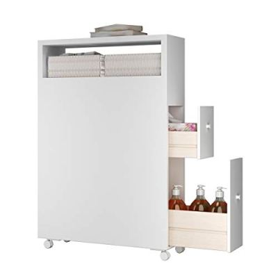 Tangkula Modern Bathroom Storage Cabinet with Wheels