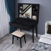 Vanity Set with Moving Mirror & Cushioned Stool Dressing Table Vanity