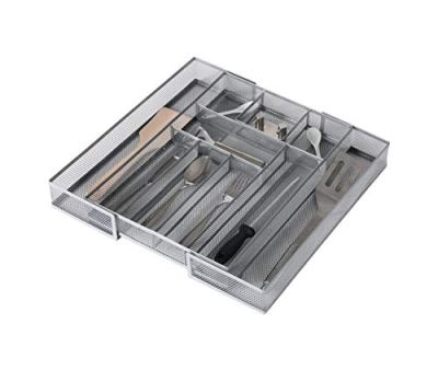 Expandable Kitchen Drawer Cutlery Tray Mesh Silverware Organizer