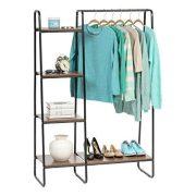 IRIS USA, Inc. PI-B3 IRIS Metal Garment Rack with Wood Shelves