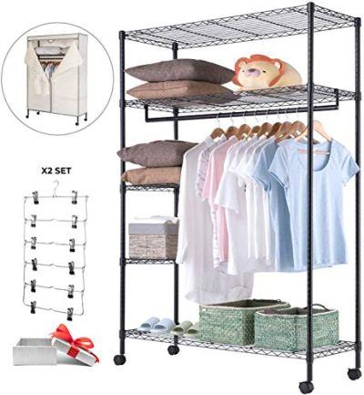 JS HOME Wardrobe Storage Organizer/Garment Rack
