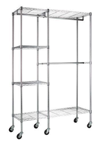 Sandusky Lee Steel Garment Rack, 2 Adjustable Shelves