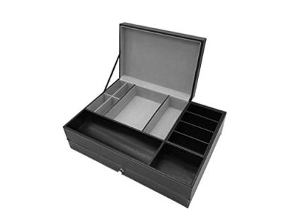 DalleDecor Black PU Leather Valet Tray with Lid and Drawer