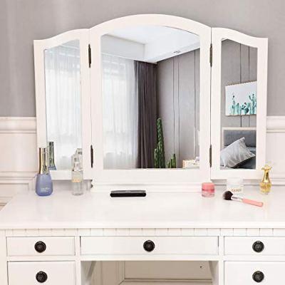 Three-Fold Square Mirror Dresser Vanity Set with Mirror Vanity Dressing Table