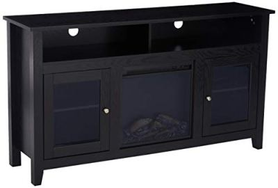 WE Furniture Rustic Wood and Glass Tall Fireplace Stand