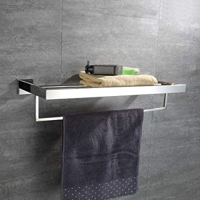 TURS Square Bathroom Bath Towel Rack with Single Towel Bar