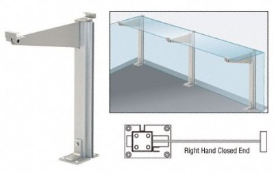"""CRL Satin Anodized 18"""" Right Hand Closed End Partition Post With Shelf Bracket"""