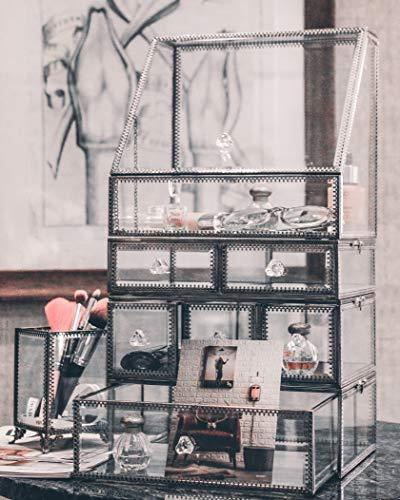 JC MAN Makeup Organizer Glass Large 4 Tier Brass Metal Cosmetic Storage Cube