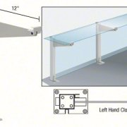"CRL Satin Anodized 18"" Left Hand Closed End Partition Post With Shelf Bracket"