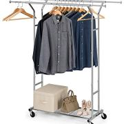 Bextsware Clothes Garment Rack On Wheels, Expandable Double Rails