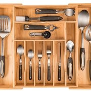 More Compartments, Organic Bamboo Utensil Organizer