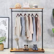 HANS CAO Heavy Iron Wood Clothes Rack, Garment Hanger