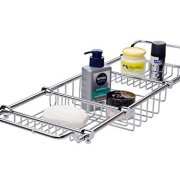 Magionline Brass Over Bathtub Racks Expandable Bath Caddy