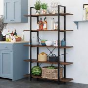 Homfa Bookshelf, 5-Tier Industrial Bookcase, Open Storage Display Shelves