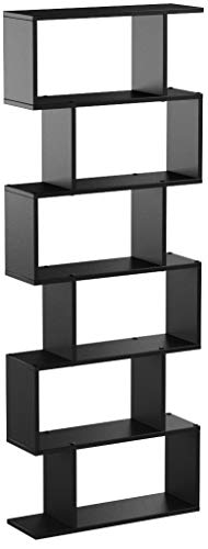 Homfa Bookshelf 6-Tier Bookcase S Shaped Bookshelf