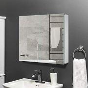 Gatesea 600 x 600 x 120 mm Bathroom Mirror Cabinet Storage Unit Stainless Steel