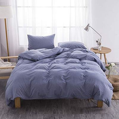 BFS HOME Washed Cotton Duvet Cover Queen, 3-Piece Duvet Cover Set