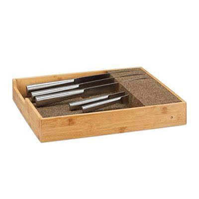 Relaxdays Bamboo Knife Holder, Drawer & Messe Storage Tray Drawer Organizer