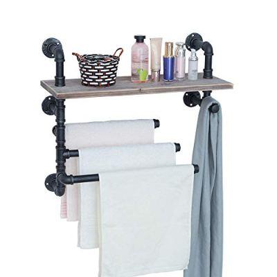 GWH Industrial Towel Rack with 3 Towel Bar,24in Rustic Bathroom
