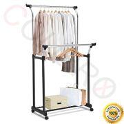 COLIBROX-TM Double Rail Adjustable Garment Rack Rolling Clothes Hanger
