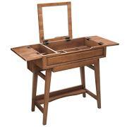 VASAGLE Vanity Table with Flip Top Mirror, Solid Wood Makeup Dressing Table Desk