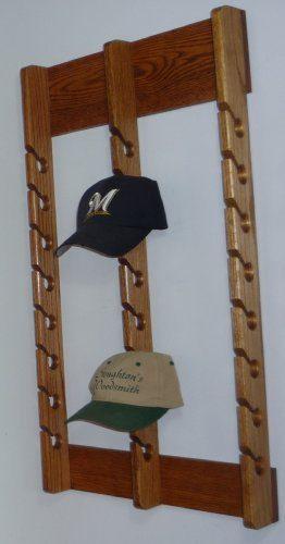 Stoughton's Woodsmith Solid Oak Triple Baseball Cap Rack