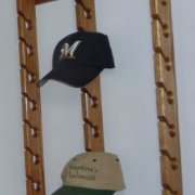 Stoughton's Woodsmith Solid Oak Triple Baseball Cap Rack