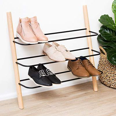 Wooden Shoe Rack Organizer - Modern Shoe Rack That Holds 12 Pairs of Shoes