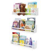 Nursery Décor Wall Shelves - 3 Shelf Set - White Long Crown Molding