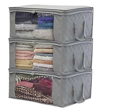 Dethler Home Foldable Zipper Storage Bags Clothes Bedding Pillows