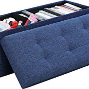 Ornavo Home Foldable Tufted Linen Large Storage Ottoman Bench Foot