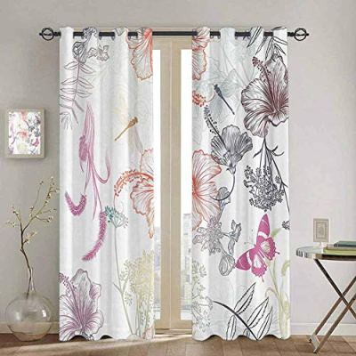 SONGDAYONE Extra Long Curtain Country Decor Privacy Protection Floral Design