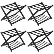 Tangkula Luggage Rack (Set of 4), Folding Metal Suitcase Luggage Stand