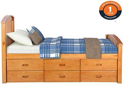 Merax Twin Size Platform Storage Bed Solid Wood Bed