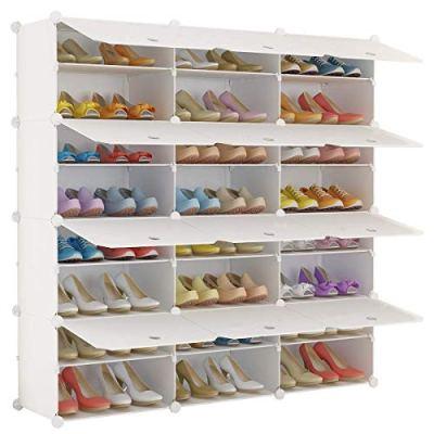 KOUSI Portable Shoe Rack Organizer 24 Grids Tower Shelf Storage Cabinet